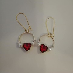 Gold red heart and pearl charm earrings