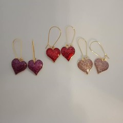 Gold red purple and pink glitter heart earrings