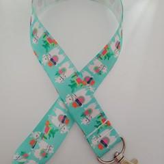 Green llama / alpaca print lanyard / ID holder / badge holder