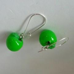 Green apple charm earrings