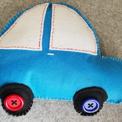 Blue Car Felt Cushion
