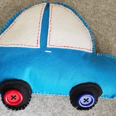 Blue Car Felt Cushion