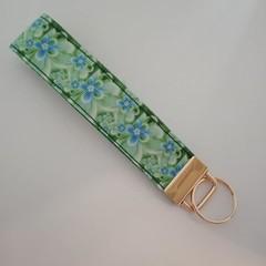 Green and blue flower key fob wristlet