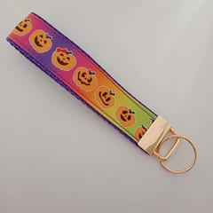 Pumpkin Halloween print key fob wristlet