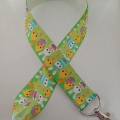 Green Easter bunny print lanyard / ID holder / badge holder