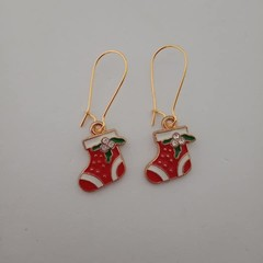 Gold red and white Christmas stocking charm earrings