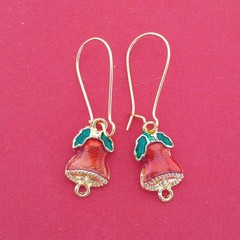 Gold red and green Christmas bell earrings