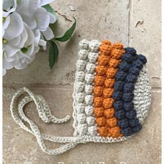 Crochet Baby Bobble Bonnet,  Organic Australian Wool, 0-3 months
