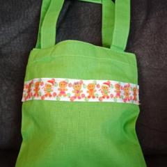 Green gingerbread man trim mini tote bag / Christmas gift bag