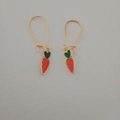 Gold carrot charm earrings