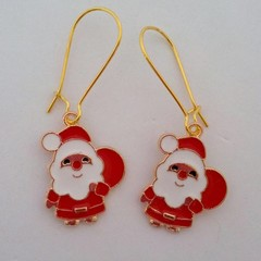 Gold Santa Claus Christmas earrings
