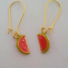 Gold watermelon charm earrings
