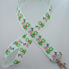 Green frog print lanyard / ID holder / badge holder