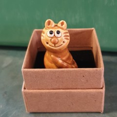 A gorgeous tiny handcrafted pottery cat - Comes in it's own gift box..