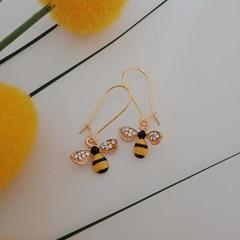 Gold / yellow and black enamel bee earrings