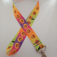 Pumpkin Halloween print lanyard / ID holder / badge holder
