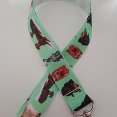 Green dog print lanyard / ID holder / badge holder