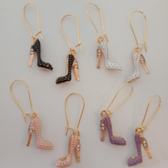 Gold stilletto /  shoe charm earrings
