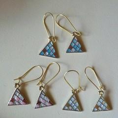 Gold triangle tile dangle earrings