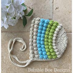 Crochet Baby Bobble Bonnet,  Organic Australian Wool, 3-6 months