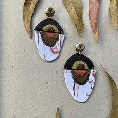 Polymer clay earrings - statement earrings Peacocks