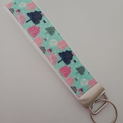 Pink and green tree print key fob wristlet