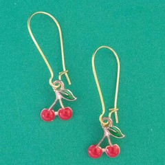Gold and red cherry charm earrings