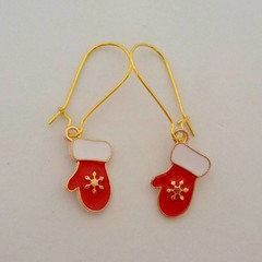 Gold red and white Christmas mitten charm earrings