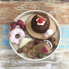 Felt treats set, cake, cookies, tea party, gift box