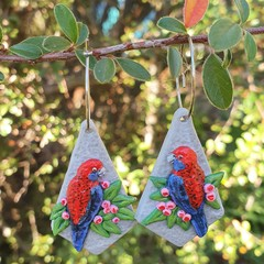 Handmade Earrings -  Crimson Rosellas