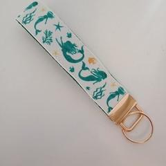 Green and gold mermaid print key fob wristlet
