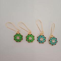 Green and blue gold mandala earrings