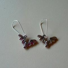 Silver bat charm Halloween earrings