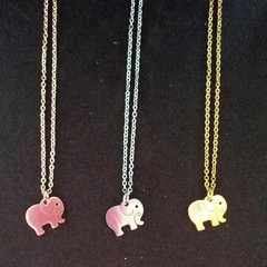 Gold silver and rose gold elephant charm necklaces