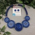 Skies of Glittering Blue - Button Fusion Necklace - Button Jewellery - Earrings