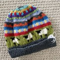 Grey sheep Beanie - to fit approx size 1-3 years -hand knitted