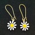 Gold and white daisy / flower dangle earrings