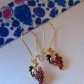 Gold grape charm earrings