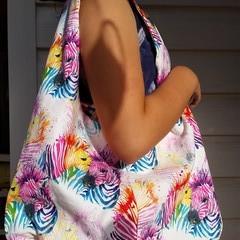 Reversible lined tote hobo bag - Happy Zebras