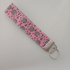 Hedgehog / animal print key fob wristlet