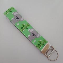 Koala print key fob wristlet