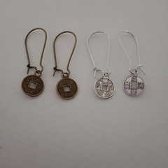 Lucky coin charm silver and bronze earrings