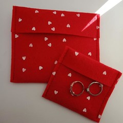 Red and white heart jewelry pouches / travel pouches