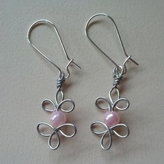 Handcrafted Celtic wire silver earrings with pink beads
