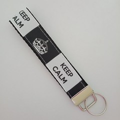 Keep calm black and white key fob wristlet