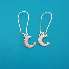 Silver moon and stars charm dangle earrings