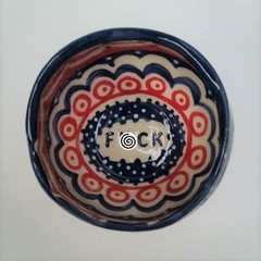 F*ck bowl gift, unique handmade red, white and blue gift