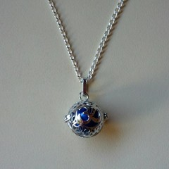 Silver and blue harmony ball necklace