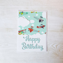 Happy Birthday Card, Dogs in Planes, Plane Themed Birthday Party