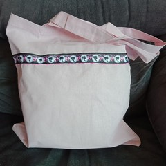 Light pink tote bag with fashion ribbon trim